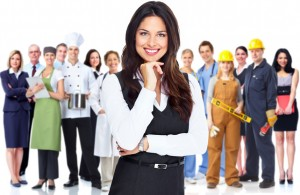 Business woman and group of workers people. Isolated over white background.